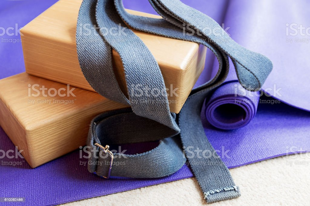 Fitness yoga pilates equipment props on carpet stock photo
