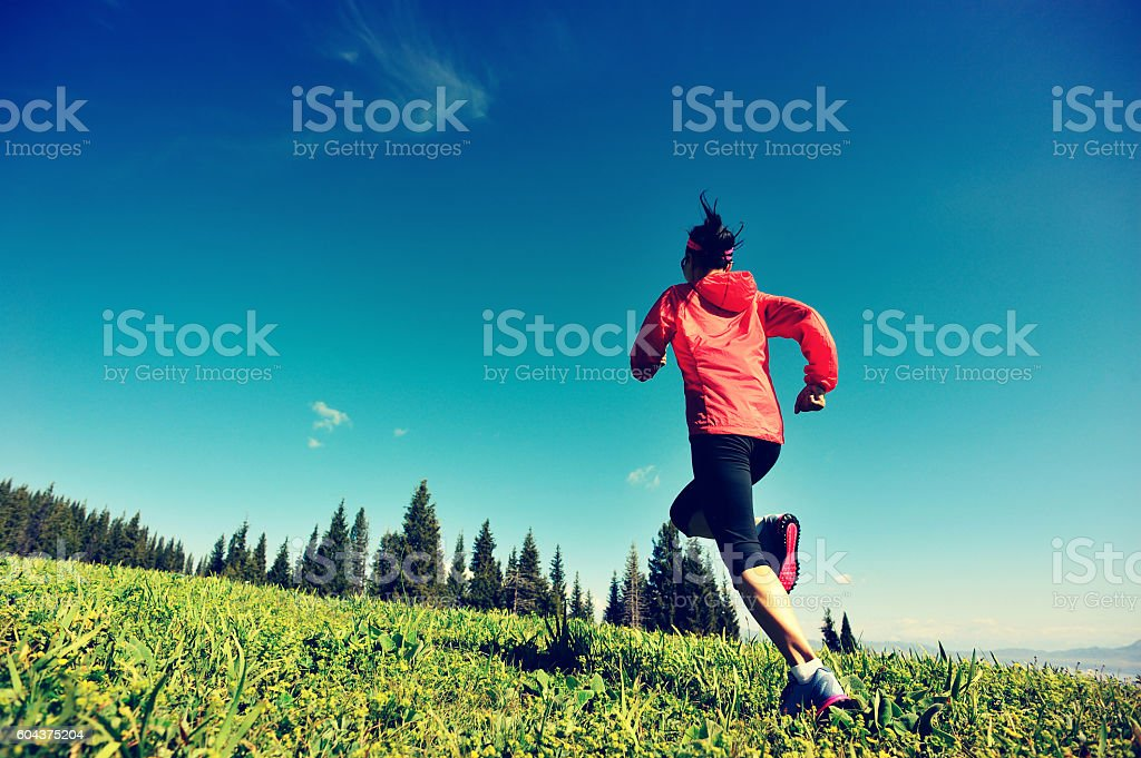 fitness young woman trail runner running on beautiful mountain peak stock photo