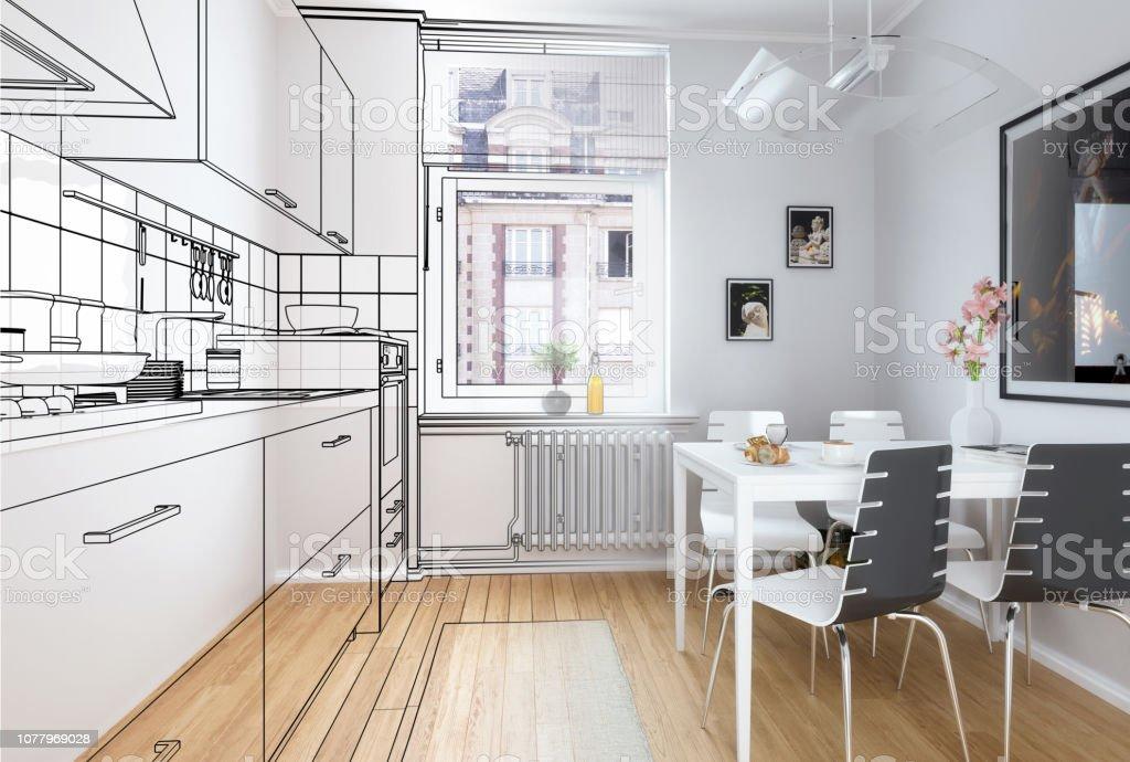 Photo Libre De Droit De Illustration 3d Cuisine Equipee Banque D