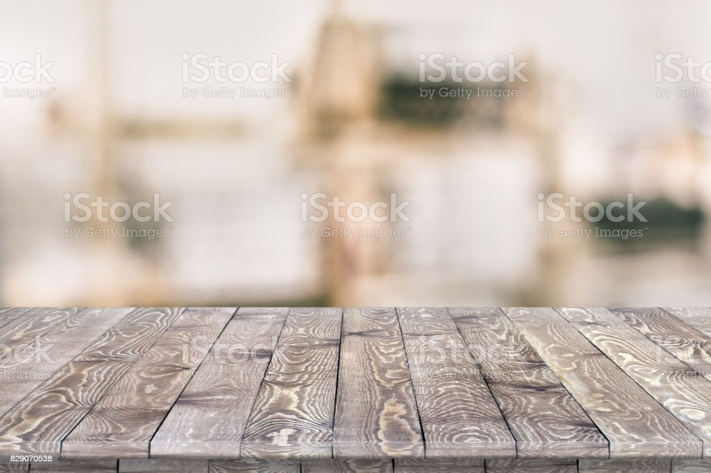 Fitted wooden worktop surface stock photo