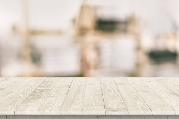 Fitted wooden worktop surface Fitted wooden worktop surface. Empty kitchen wooden table space platform. workbench stock pictures, royalty-free photos & images
