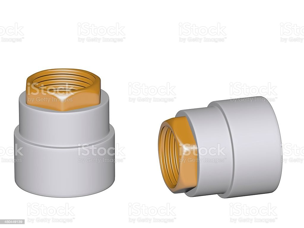 Fitting - PVC connection coupler inside screw thread isolated royalty-free stock photo