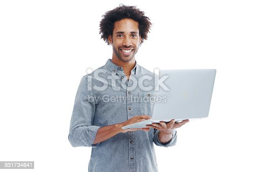 Studio shot of a handsome man holding a laptop isolated on whitehttp://195.154.178.81/DATA/shoots/ic_783849.jpg