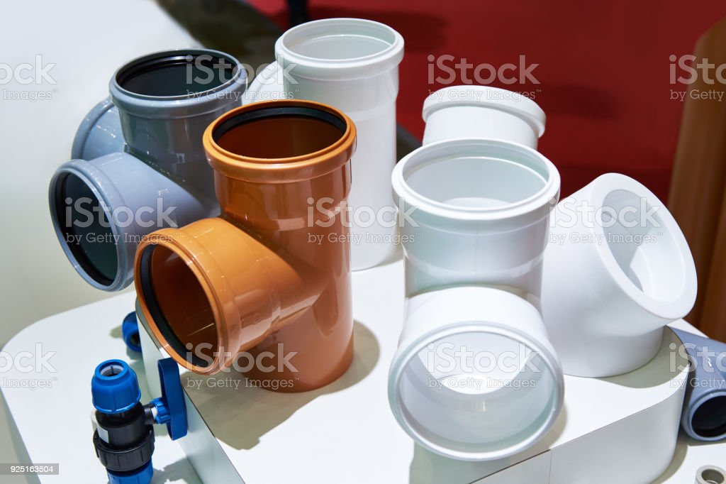PVC fittings for sewer system stock photo