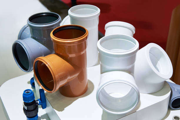 PVC fittings for sewer system PVC fittings for sewerage system pvc stock pictures, royalty-free photos & images