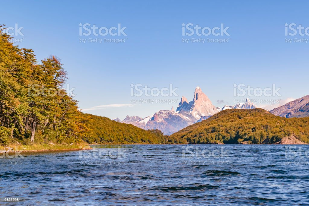 Fitz Roy and Poincenot Mountain Lake View - Patagonia - Argentina zbiór zdjęć royalty-free