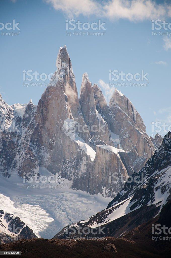 fitz roy mountain detalle en chalten argentina - foto de stock