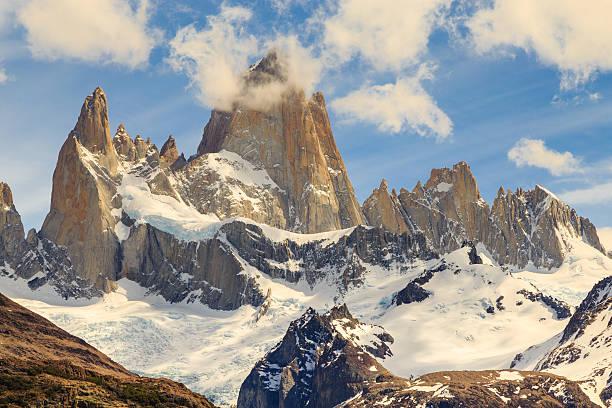 fitz roy mountain, mountains landscape, patagonia, glacier in mountains stock photo