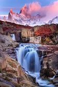 Colorful Autumn in  Los Glaciares National Park, Patagonian Andes, Argentina.