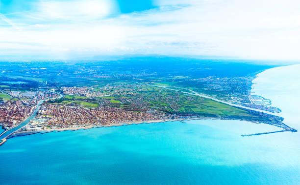Fiumicino bay from the aircraft stock photo