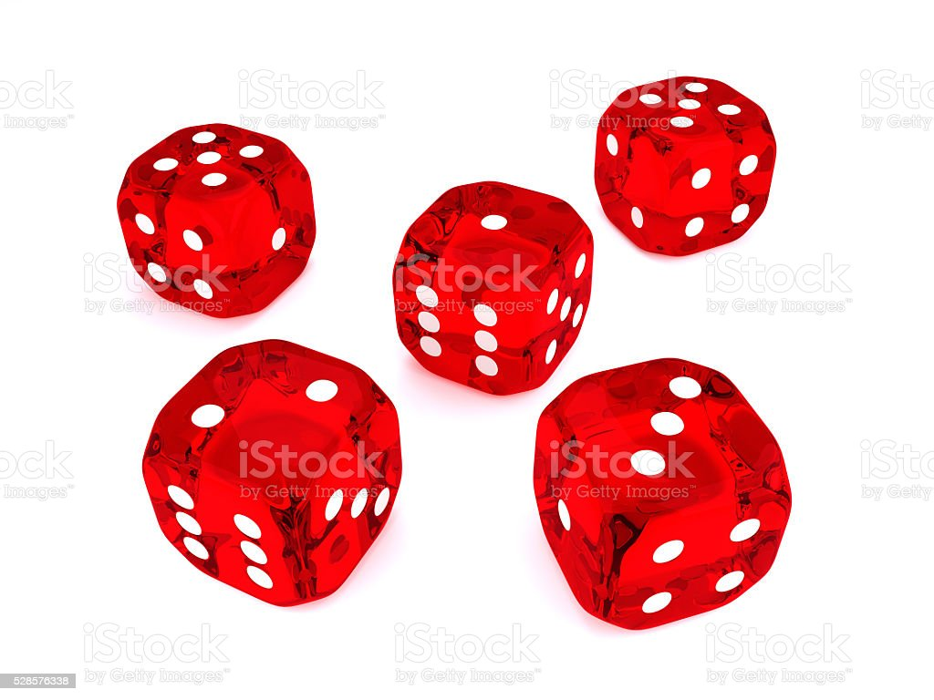 five 3d dices over white background stock photo