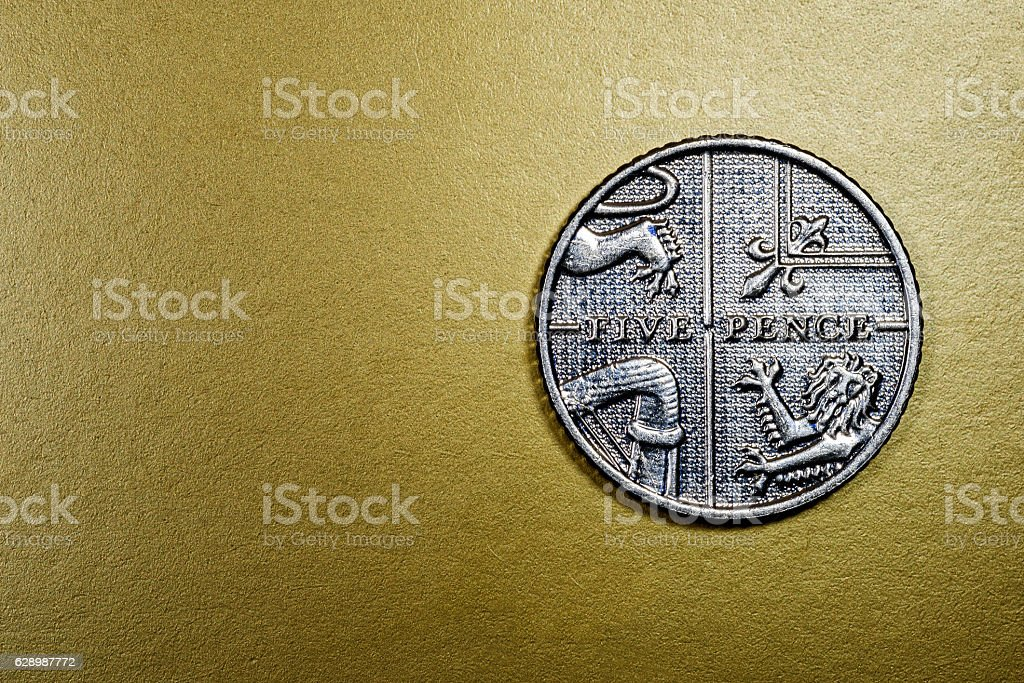 Five 5 Pence British Currency Sterling Coin stock photo