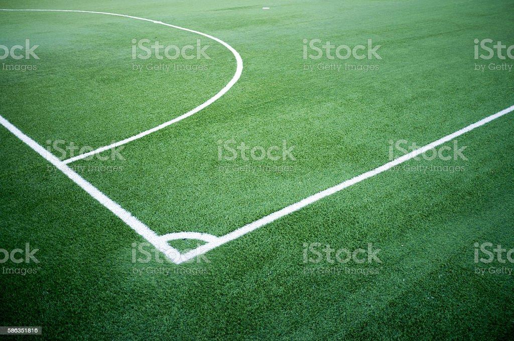 Five a side football pitch corner kick stock photo