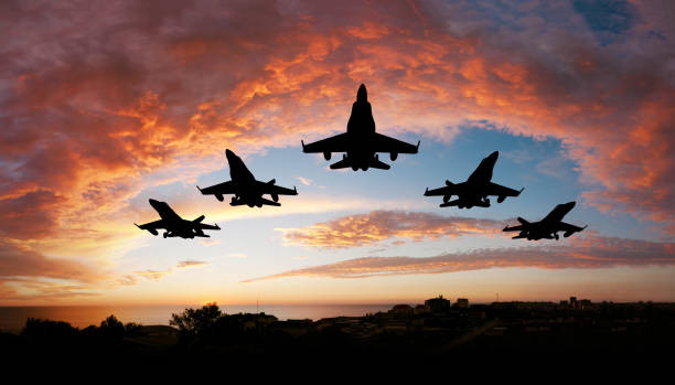 Five airplanes Five fighters flying at sunset air force stock pictures, royalty-free photos & images