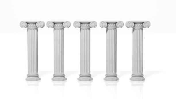 five ancient pillars, isolated on white background. - five objects stock pictures, royalty-free photos & images