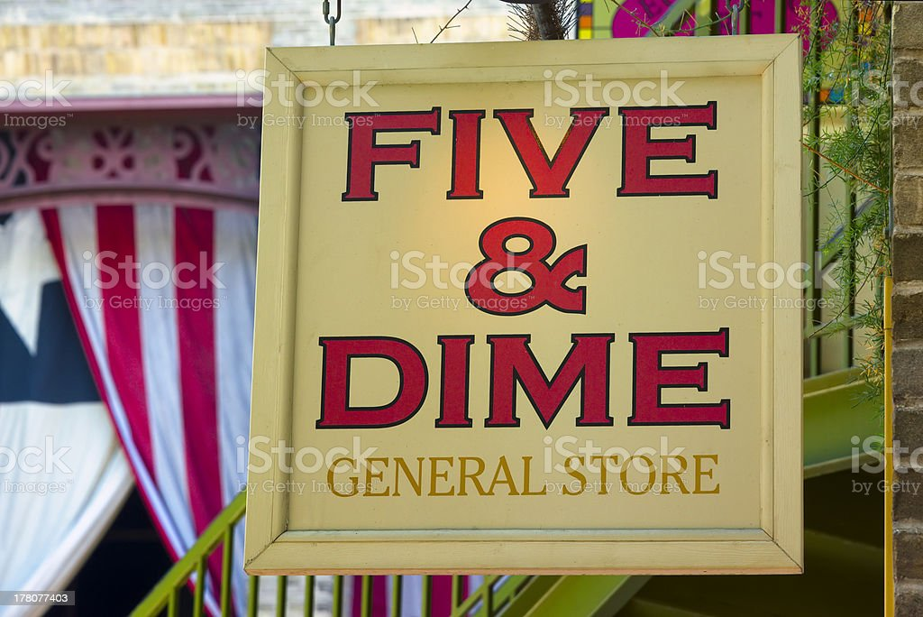 Five and Dime Store Sign stock photo
