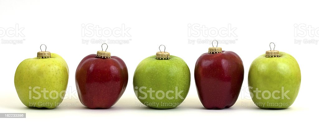 Five Apple Ornaments in Line royalty-free stock photo