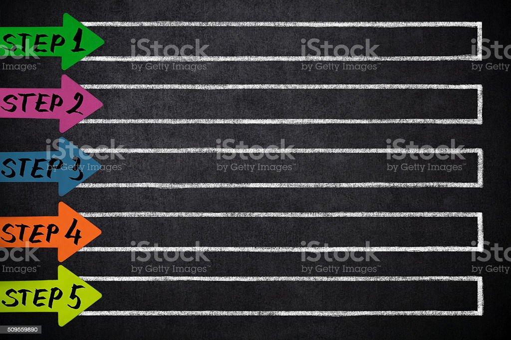 Cinco setas com lugar para o seu conteúdo - foto de acervo