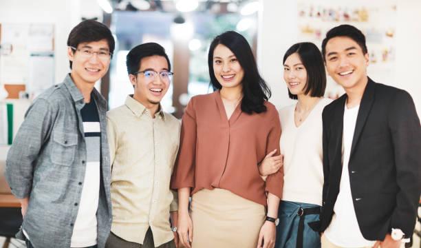 Fünf asiatische Kollegen im Büro – Foto