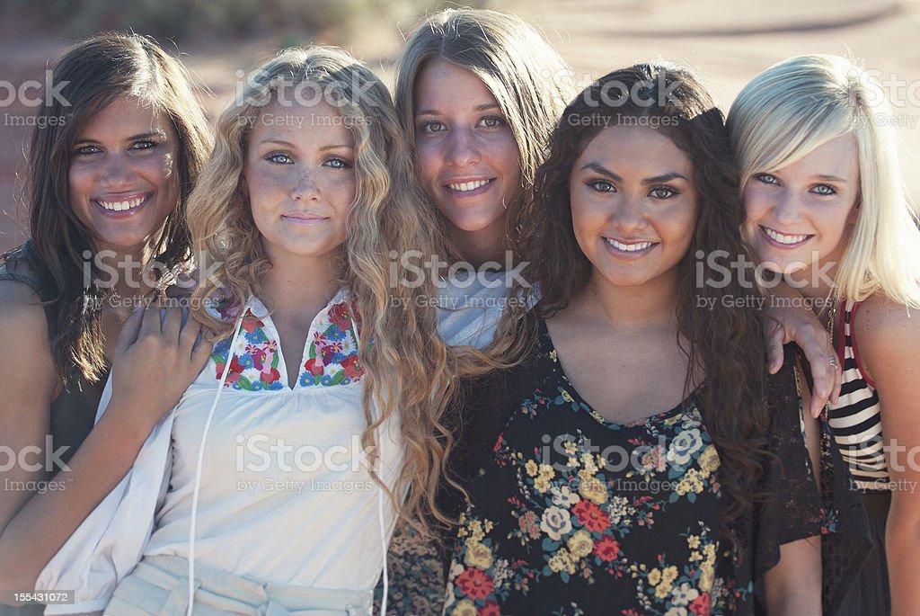 Five Attractive Friends stock photo
