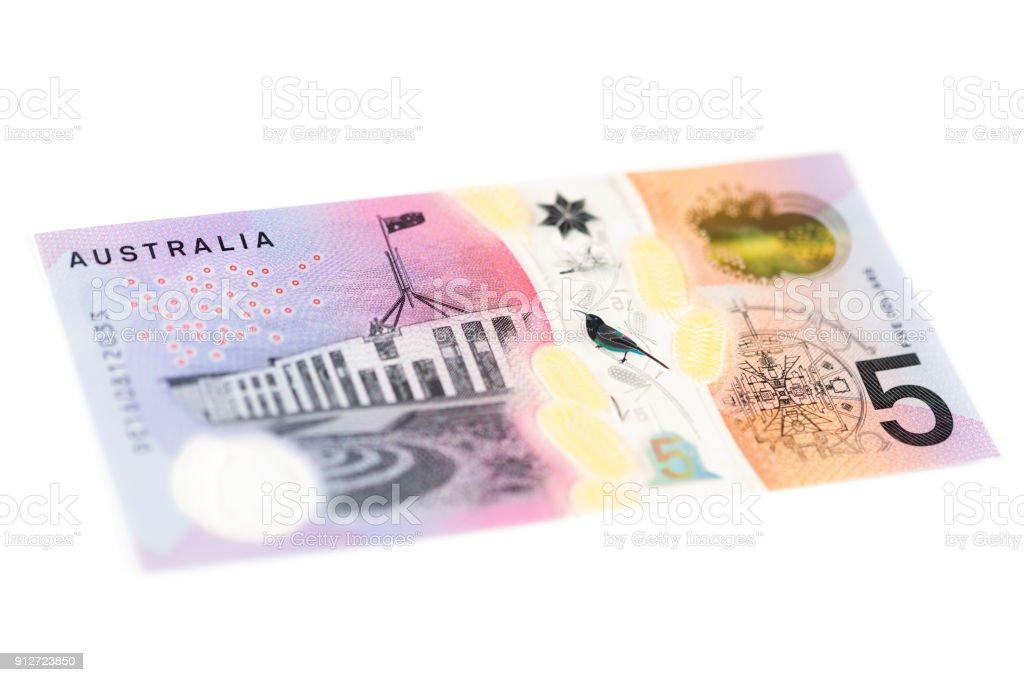 Five Australian Dollar Bill - Back stock photo