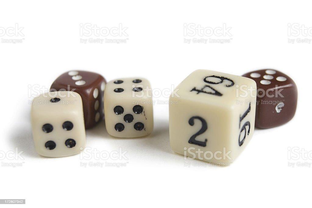 Five Backgammon Board Game Dice on White stock photo