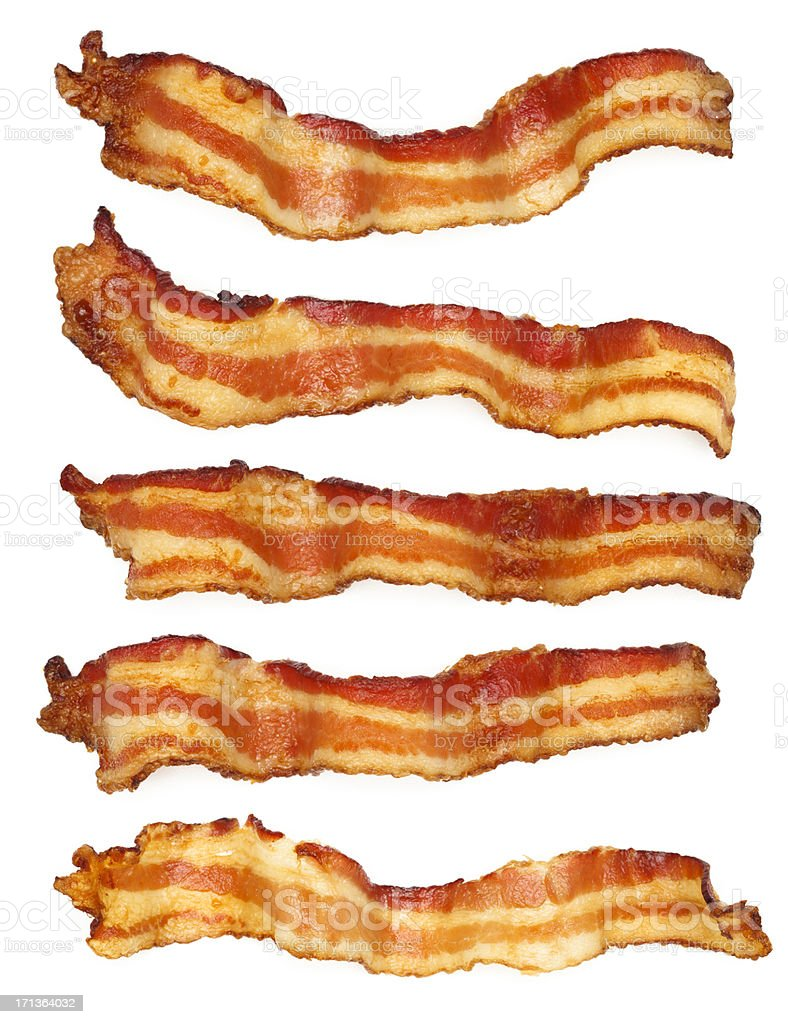 Five Bacon Slices royalty-free stock photo