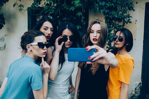 five beautiful young girls stock photo