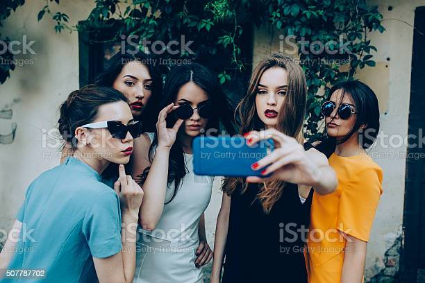 Five Beautiful Young Girls Stock Photo - Download Image Now