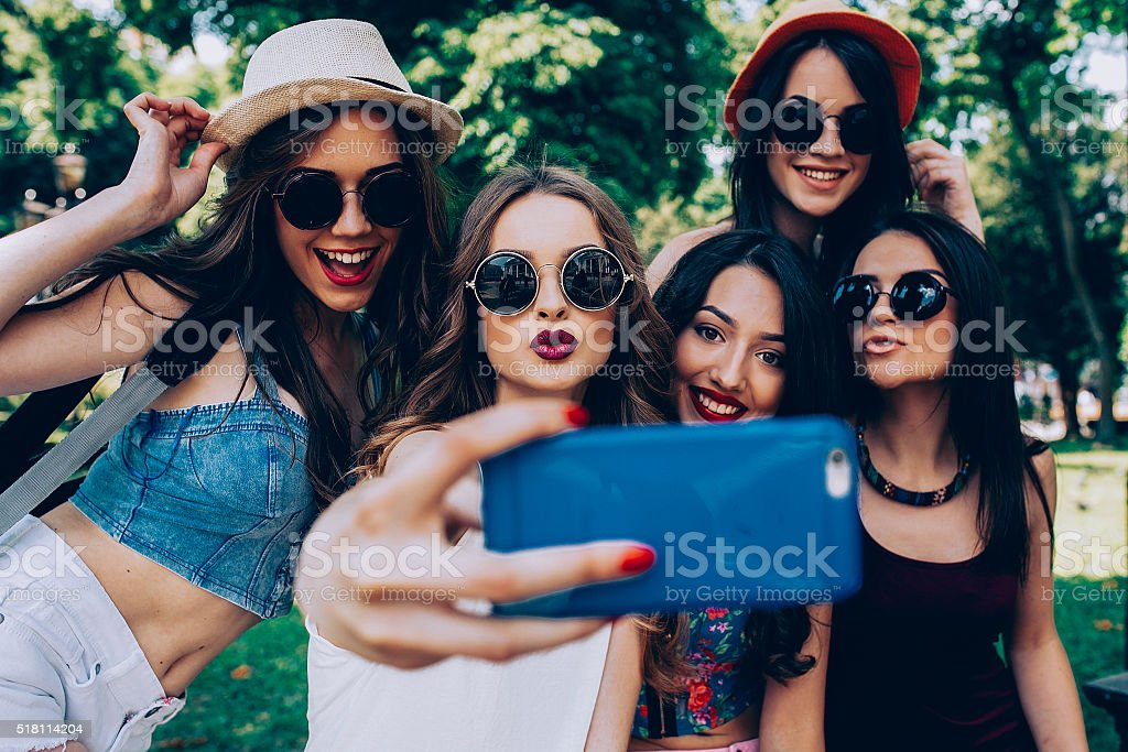 five beautiful young girls stock photo