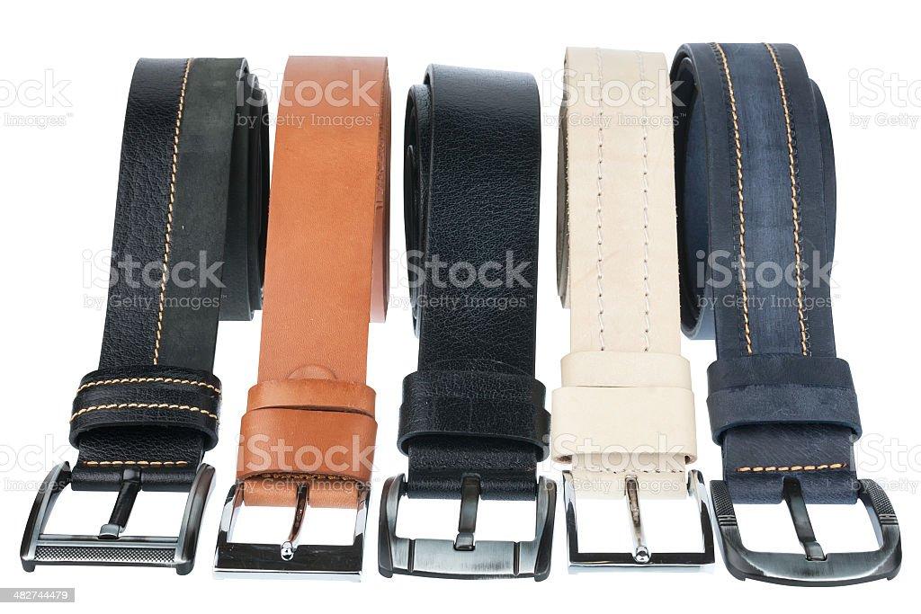 Five belt men's stock photo