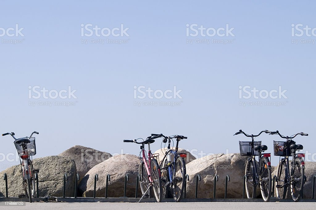 Five bicycles in a row royalty-free stock photo