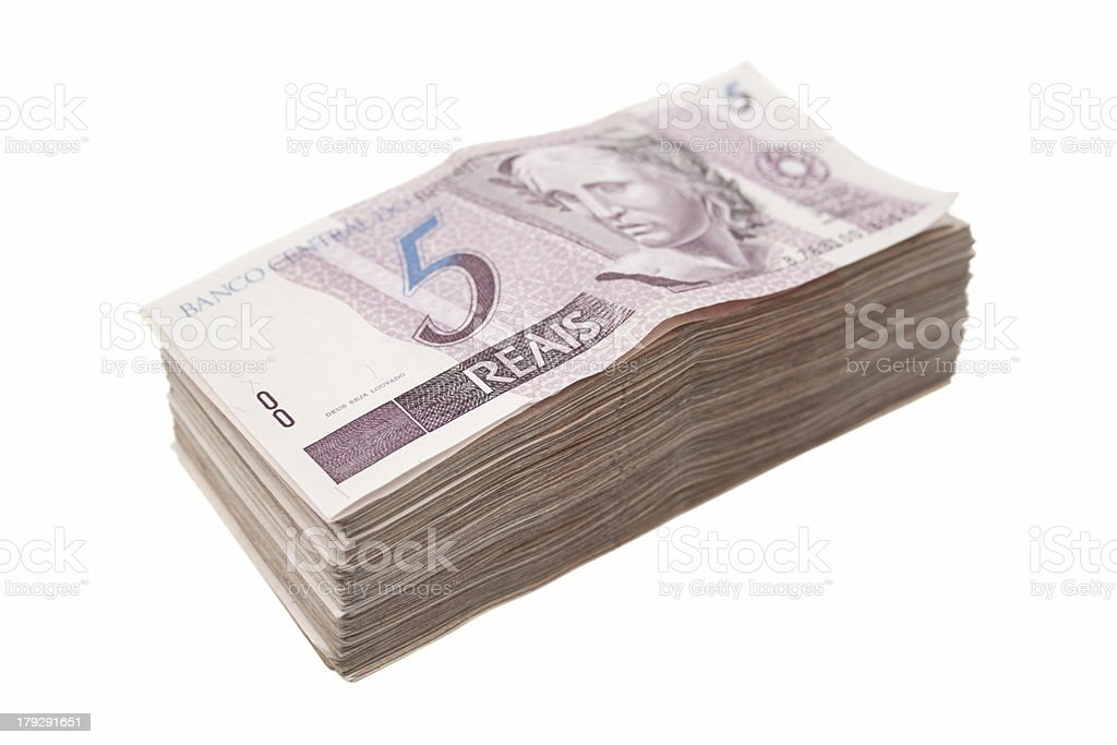 Five bills pile stock photo