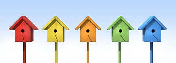 Five Birdhouses stock photo