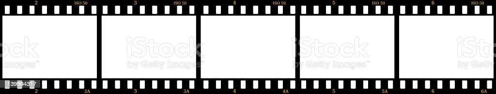 Five black and white blank film frames stock photo