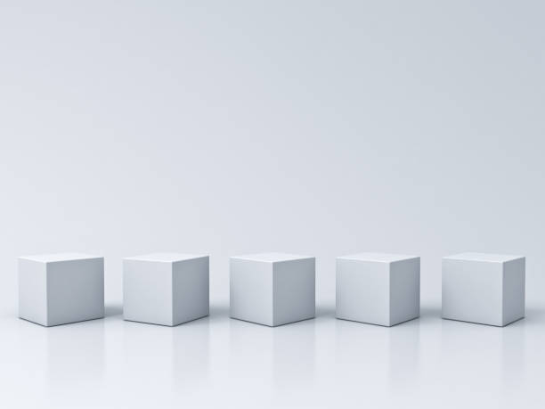 five blank box podiums on white grey background with reflections and shadows 3d rendering - piedistallo foto e immagini stock