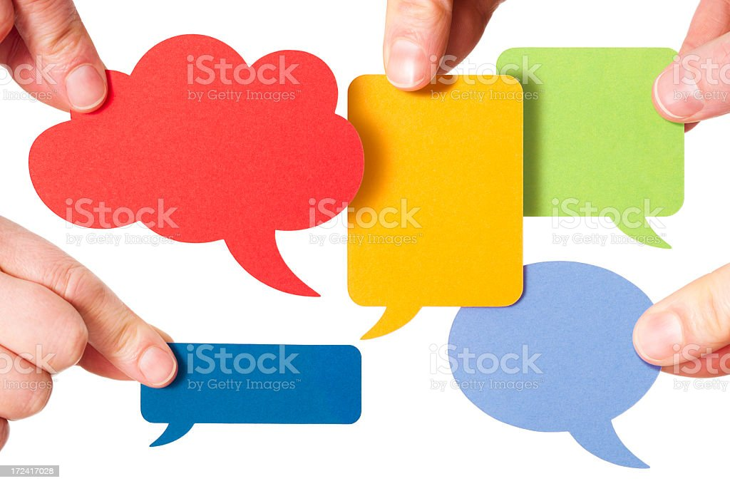 Five blank colourful speech bubbles stock photo