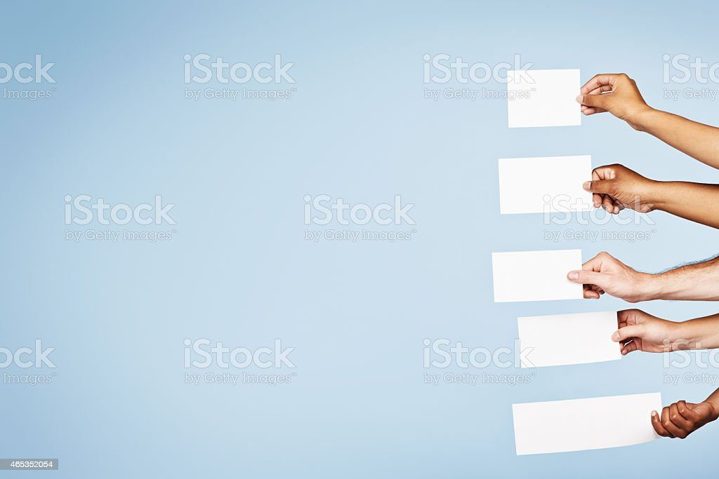 Five blank signs wait for your message stock photo