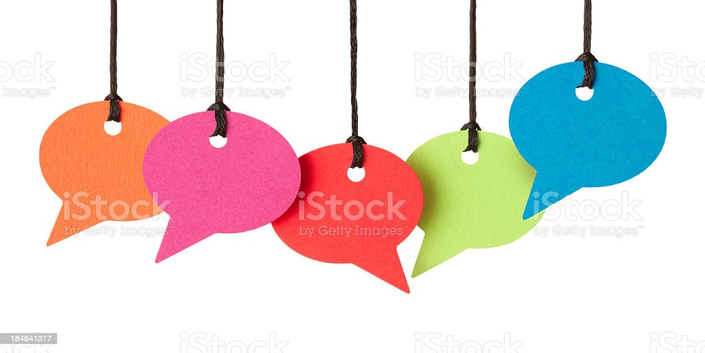 Five blank speech bubbles hanging from thread stock photo