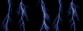 Blue lightning bolts on black background