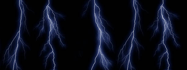 five blue lightning bolts on black background - lightning zdjęcia i obrazy z banku zdjęć