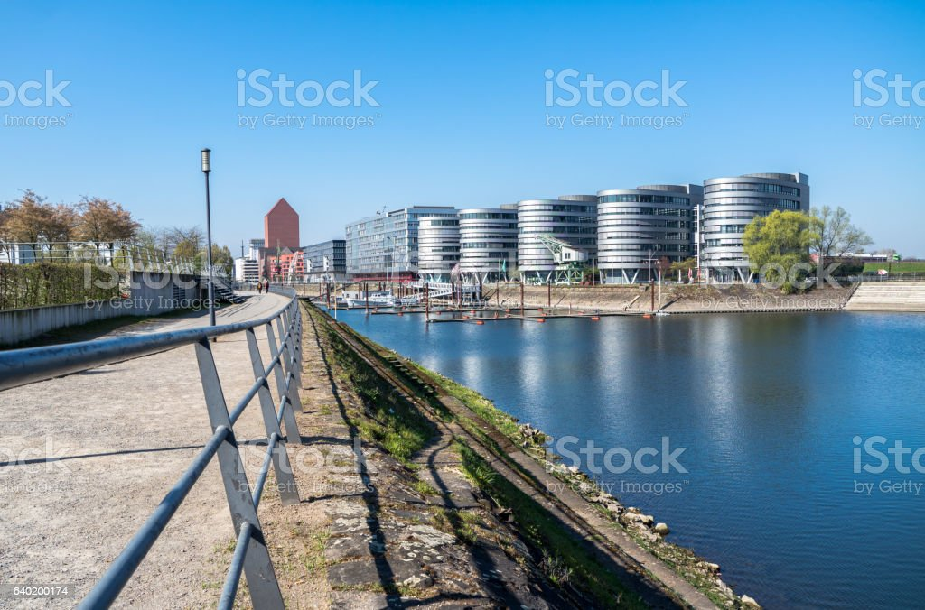 Five boats in Duisburg, Germany stock photo