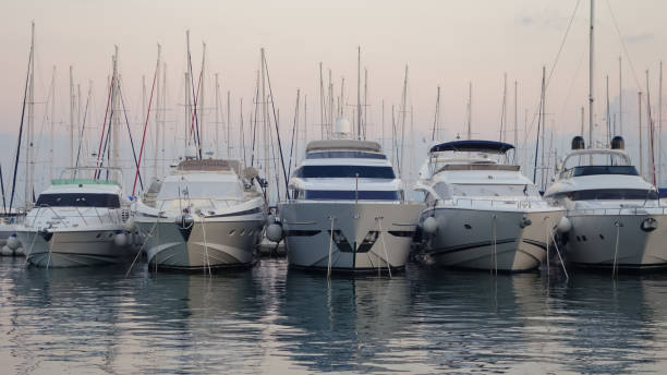Five boats in the harbour, Split, Croatia stock photo