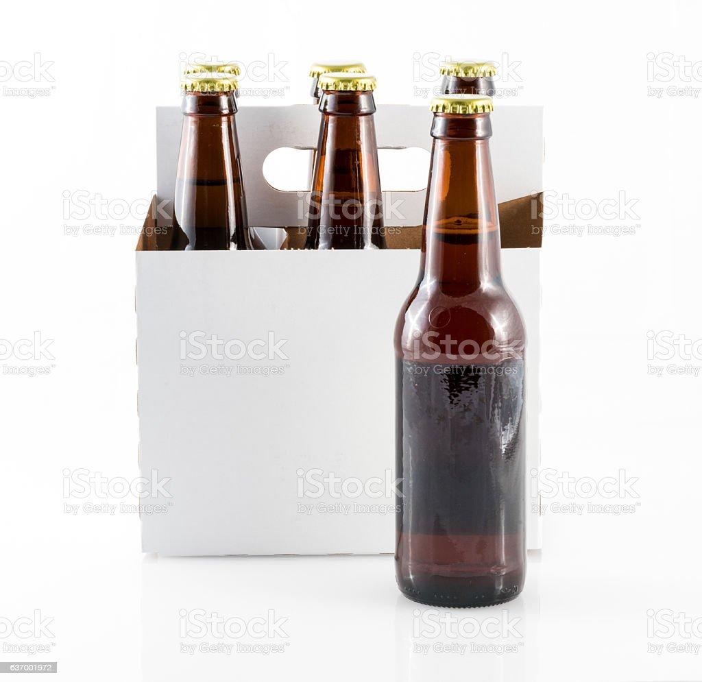 Five bottles of beer in cardboard carrier photo libre de droits