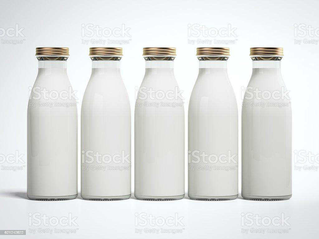 Five bottles of milk. 3d rendering stock photo