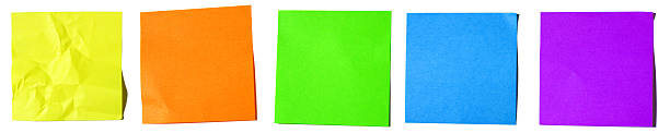 Five bright Post-it Notes in a Row Banner stock photo