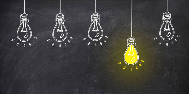 five bulb on blackboard one bulb bright yellow. ideo concept five bulb on blackboard one bulb bright yellow. ideo concept blackboard visual aid stock pictures, royalty-free photos & images