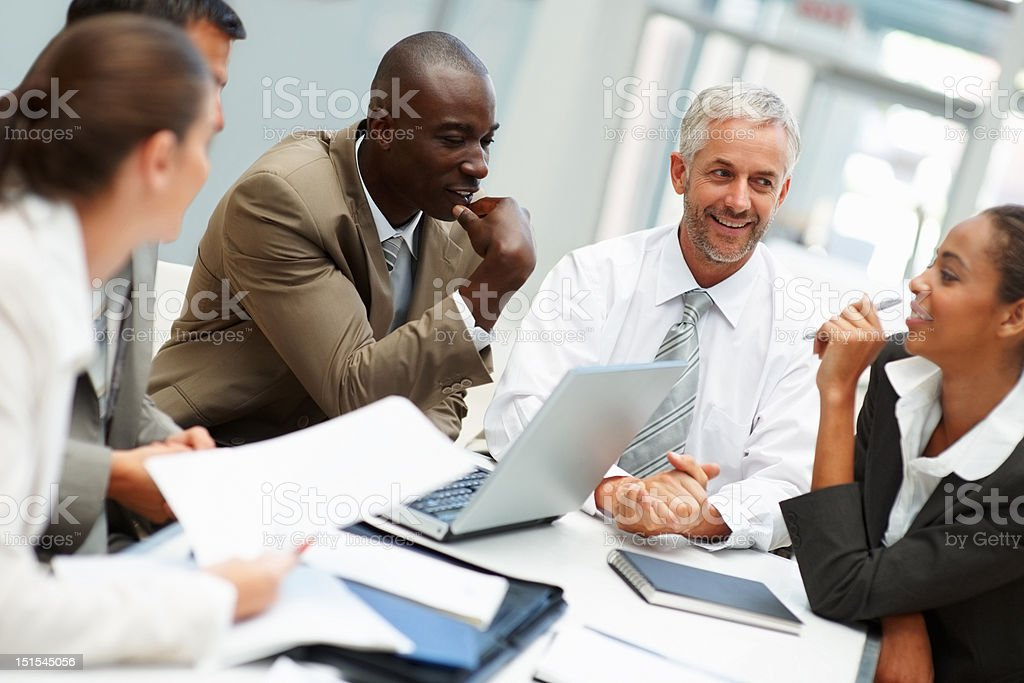 Five business colleagues during a meeting royalty-free stock photo