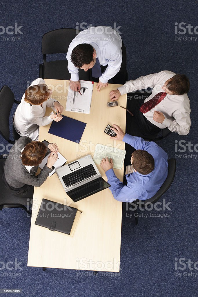 five business people meeting royalty-free stock photo