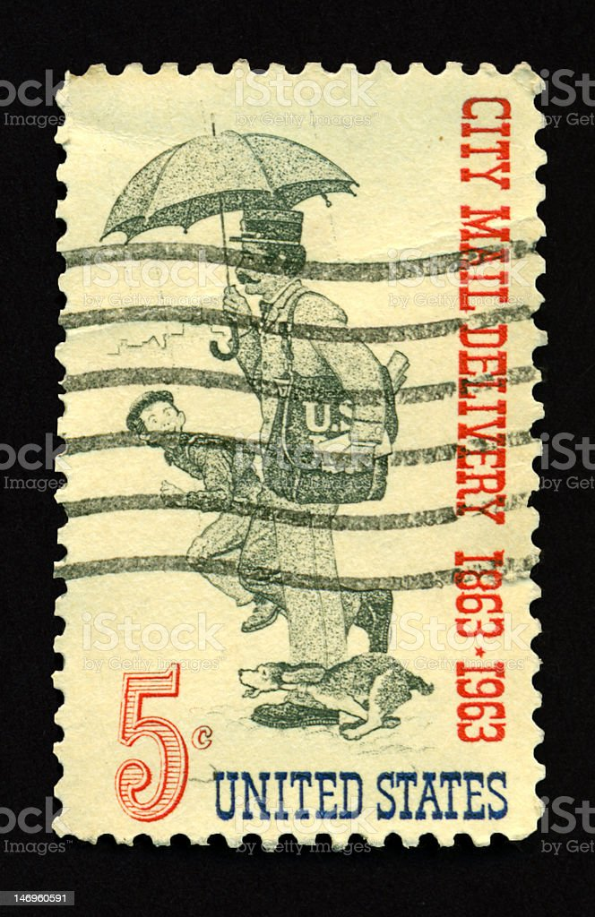 Five Cent City Mail Delivery royalty-free stock photo